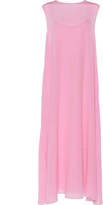 Rochas Overgross Sleeveless Silk Crepe De Chine Midi Dress