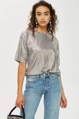 Topshop Womens Oversized Foil T-Shirt