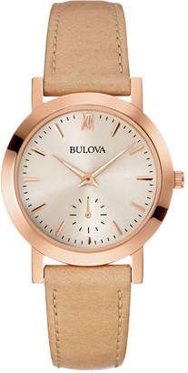 Bulova Womens Brown Leather Strap Watch 97L146