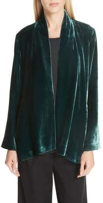 Eileen Fisher Angled Front Velvet Jacket