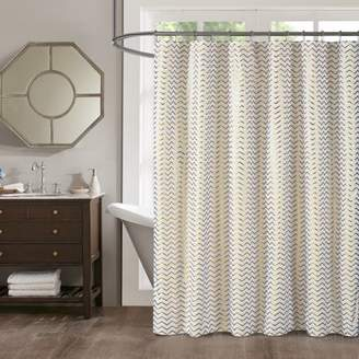Mainstays Metallic Gold Chevron Shower Curtain, 1 Each