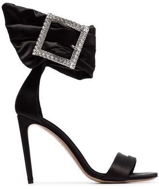 Alexandre Vauthier black Yasmin 100 silk satin crystal buckle sandals