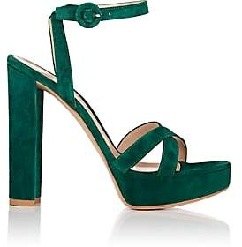 Gianvito Rossi Women's Suede Platform Sandals - Dk. Green