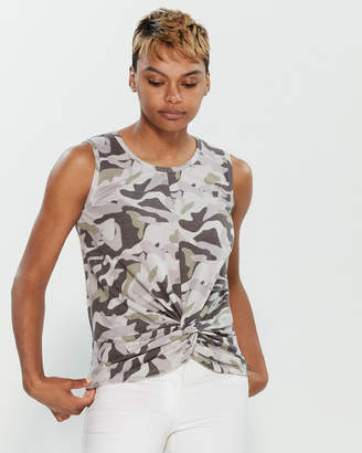 Cable & Gauge Sleeveless Leopard Print Tank