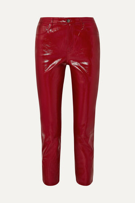J Brand Ruby Cropped High-rise Slim-leg Patent-leather Jeans