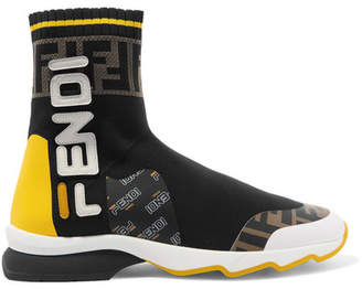 Fendi Logo-appliqued Rubber-trimmed Stretch-knit Slip-on Sneakers