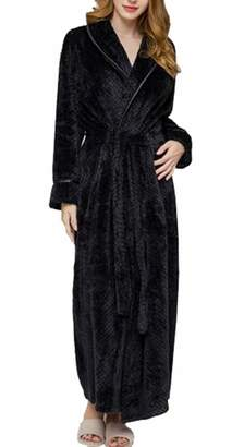 ainr WomensSolid Colored Fleece Robe, Long Plush Hooded Bathrobe with Belt XS