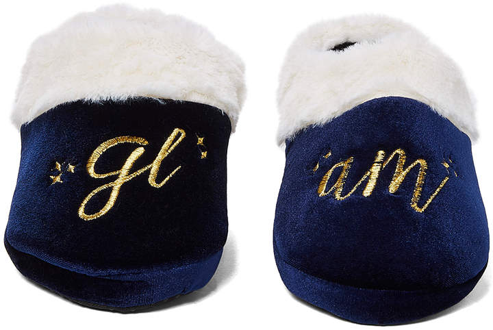 Navy 'Glam' Embroidered Velvet Slipper - Women