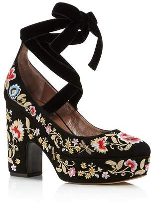 Tabitha Simmons Women's Sky Flora Embroidered Suede Lace Up Platform Pumps - 100% Exclusive