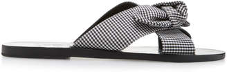 Ancient Greek Sandals Thais Bow-Embellished Gingham Cotton Slides