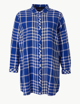Marks and Spencer CURVE Checked Long Sleeve Shirt