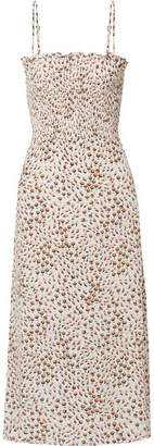 Faithfull The Brand Solange Smocked Floral-print Crepe Midi Dress - White