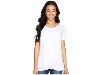 Allen Allen Twist Front Crew w/ Roll Hem Sleeves Stripe Women's T Shirt
