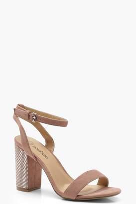 boohoo Diamante Two Part Block Heels