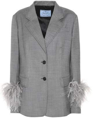 Prada Feather-trimmed wool blazer