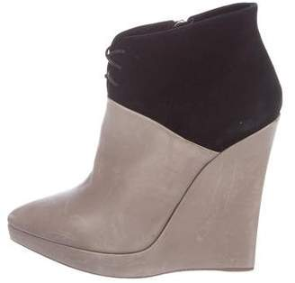 Reed Krakoff Leather Pointed-Toe Wedge Booties