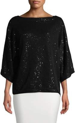 Oscar de la Renta Women's Sequined Silk-Blend Top