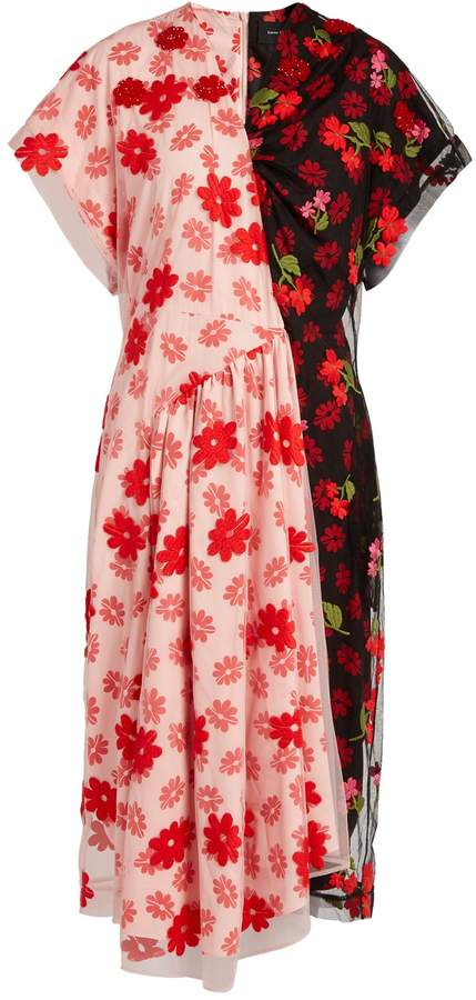 Simone Rocha Floral-print tulle and crepe de Chine dress