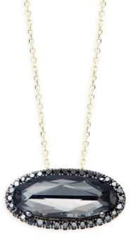 Suzanne Kalan Black Diamond 14K Yellow Gold Oval Quartz Pendant Necklace