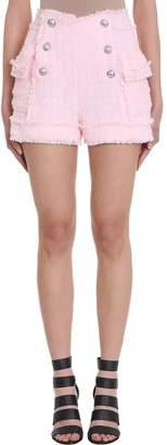 Balmain Pink Boucl?-tweed Shorts