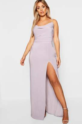 boohoo Plus Slinky Cowl Neck Maxi Dress