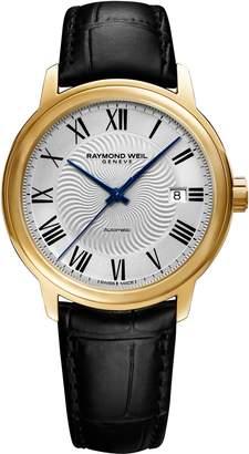 Raymond Weil Maestro Automatic Leather Strap Watch, 40mm