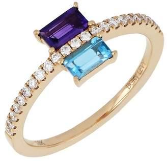 Bony Levy 18K Rose Gold Gemstone & Diamond Stack Ring - Size 6.5