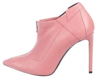 Roland Mouret Leather Pointed-Toe Booties Pink Leather Pointed-Toe Booties