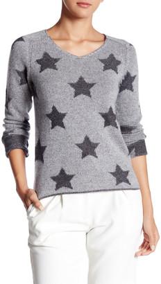 Kier & J Star Pattern V-Neck Cashmere Sweater $216 thestylecure.com