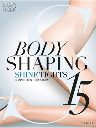 3195cf2c8f0 M S CollectionMarks and Spencer 2 Pair Pack 15 Denier Secret Slimming Shine  Body Shaper Tights