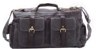 EAZO - Waxed Canvas And Leather Military Style Overnight Holdall Bag In Grey