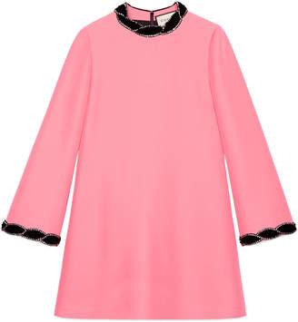 Gucci Wool-silk dress with velvet trim
