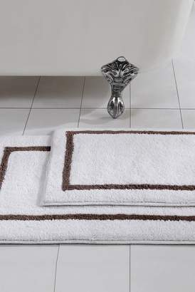 Amrapur Mocha Reversible Contrast Stripe Bath Mat 2-Piece Set