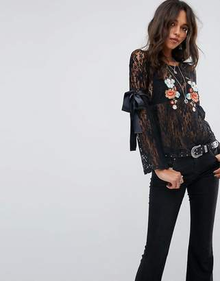 Glamorous Long Sleeve Top In Lace With Floral Embroidery