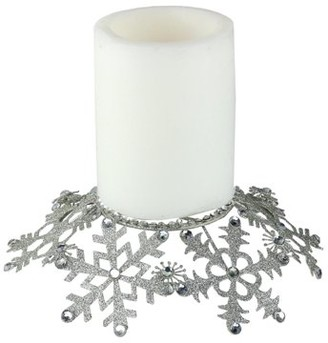 """Melrose 9"""" Silver Snowflake Glittered and Jeweled Christmas Pillar Candle Holder"""