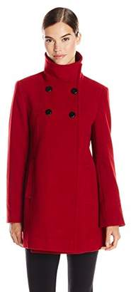 Larry Levine Women's Double-Breasted Plush Coat