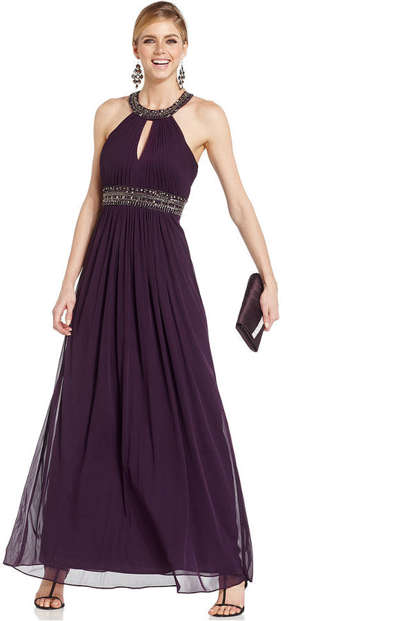 Xscape Evenings Keyhole Embellished Pleated Gown