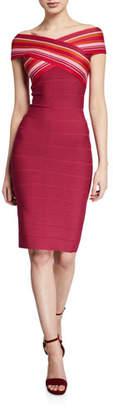 Herve Leger Off-The-Shoulder Strip-Jacquard Dress