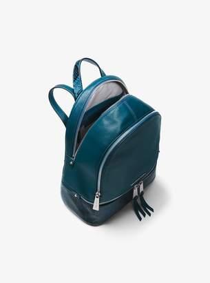 MICHAEL Michael Kors Rhea Medium Pebbled and Snake-Embossed Leather Backpack