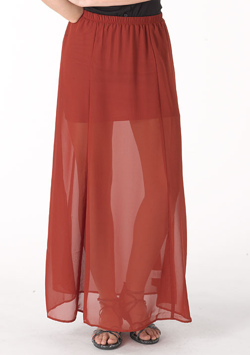 Lily White Kami Sheer Chiffon Maxi Skirt