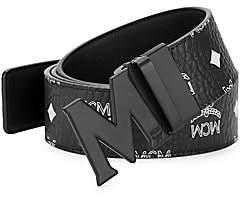 MCM Men's M Reversible Belt in White Logo Visetos