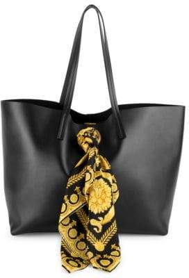 Versace Barocco Print Scarf Leather Tote Bag