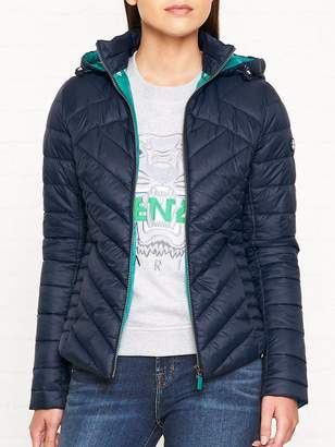 Barbour Pentle Baffle Quilted Hooded Jacket - Navy