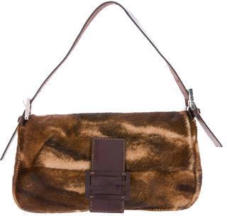 FendiFendi Ponyhair Baguette Shoulder Bag