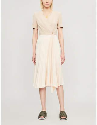 Sandro Pleated short sleeved crepe dress