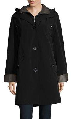 Gallery Petite Button-Front Raincoat