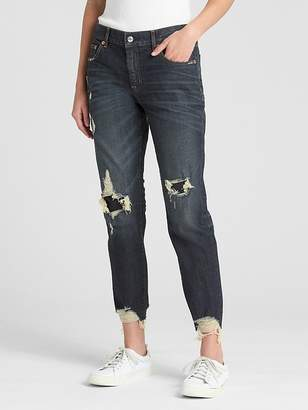 Gap Mid Rise Girlfriend Jeans in Distressed