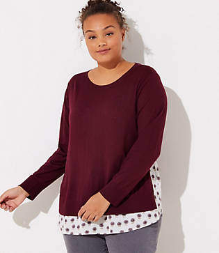 LOFT Plus Dahlia Mixed Media Shirttail Sweater
