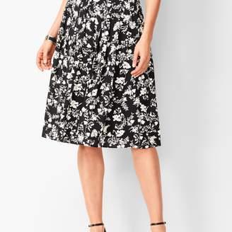 Talbots Floral Pleated Midi Skirt