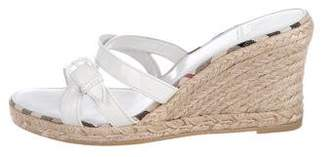 Burberry Patent Leather Wedge Sandals